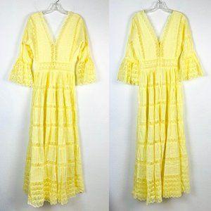 Custom 70's Style Yellow Lace Boho Prairie Dress
